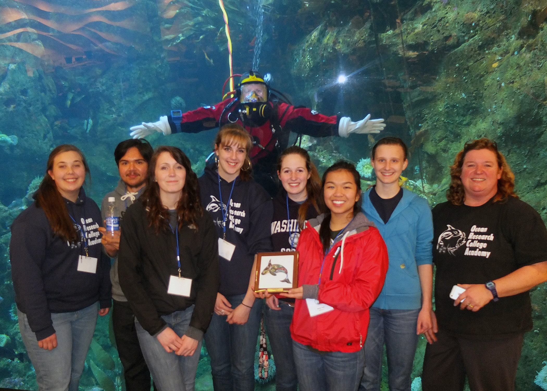 2014 champions ORCA team 'A' after the awards ceremony at the Seattle Aquarium.