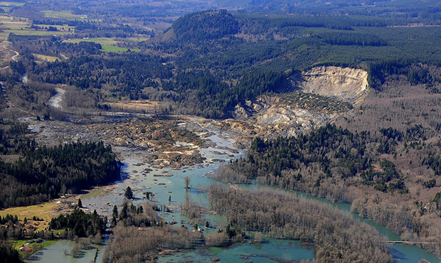 View of Oso landslide from the air