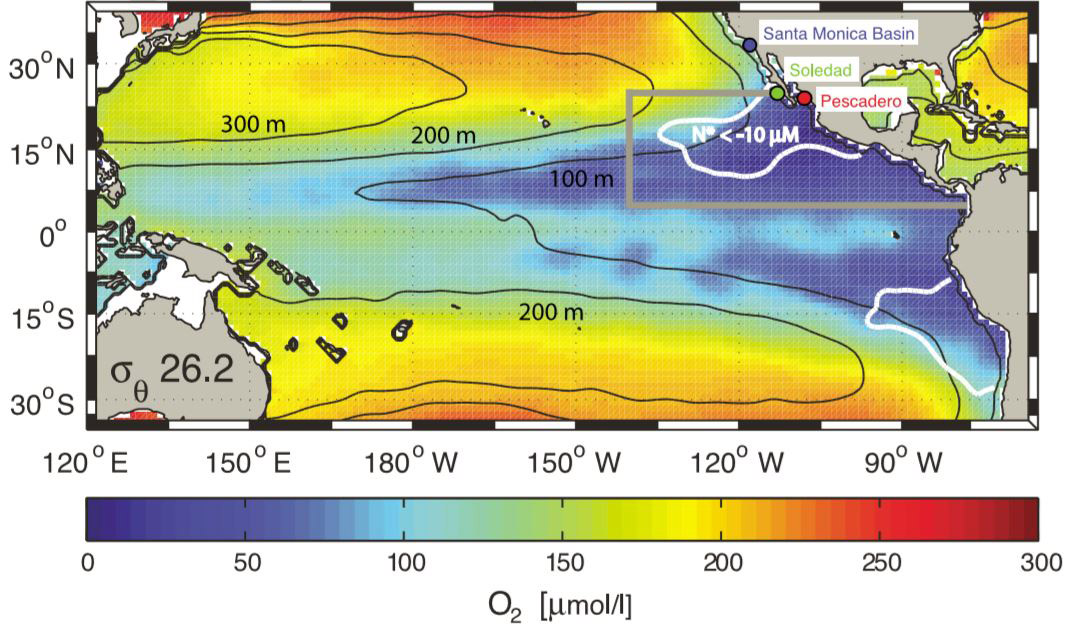 Map showing low oxygen zones in the Pacific Ocean.