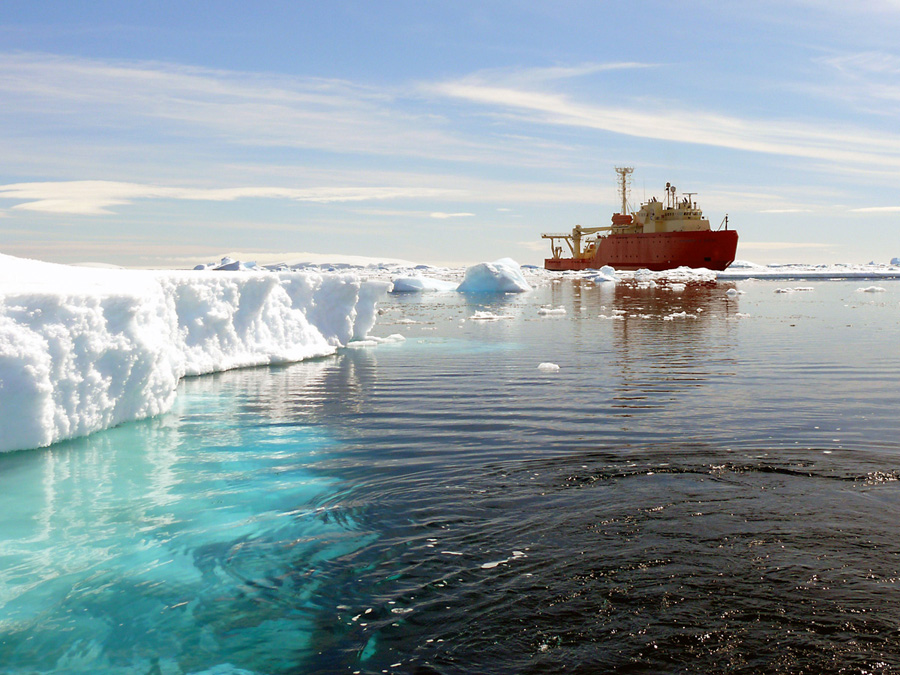 Research vessel in Antarctic waters.