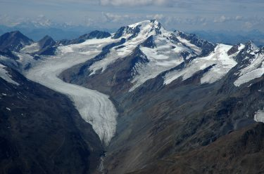 Hintereisferner Glacier in Austria is one of the glaciers analyzed in the study. The edge of the glacier is 2.8 km (1.75 miles) farther up the valley than it was in 1880.
