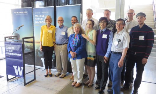 Dean Lisa J. Graumlich (left) with 2016 College of the Environment Award winners.