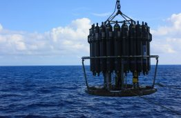 An oceanographic sampler, known as a rosette, during a 2013 cruise in the North Pacific. Each bottle contains water from different depths, which is how researchers collected samples of the vitamins at sea.