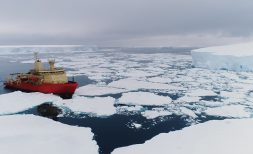 A drone's-eye view of the R/V Nathaniel B Palmer encountering sea ice in the Southern Ocean.