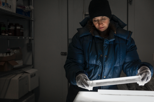 Becky Alexander in the cold room of the UW's IsoLab with sections of an ice core. Her group is now analyzing ice cores from Antarctica to see if they show the same trend as in Greenland.