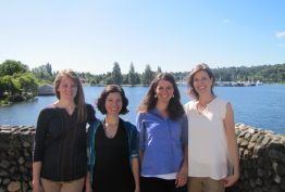 (From left) Team members Hillary Scannell, Eleni Petrou, Leah Johnson and Kate Crosman connect on the UW's waterfront.