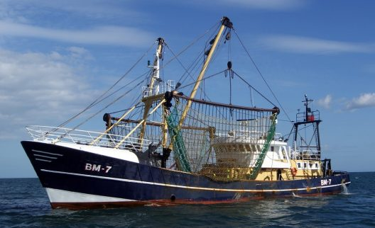 Trawling boat sitting on open ocean.