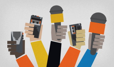 Illustration of arms with hands holding microphones and voice recorders.