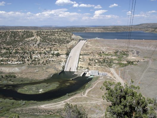 The San Juan River's Navajo Dam and reservoir above.