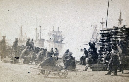 Coaling Admiral Farragut's fleet at Baton Rouge, Louisiana, circa 1862.