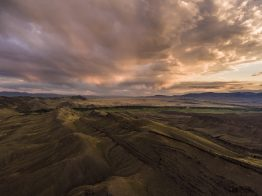 Clouds and layers of rock in Montana