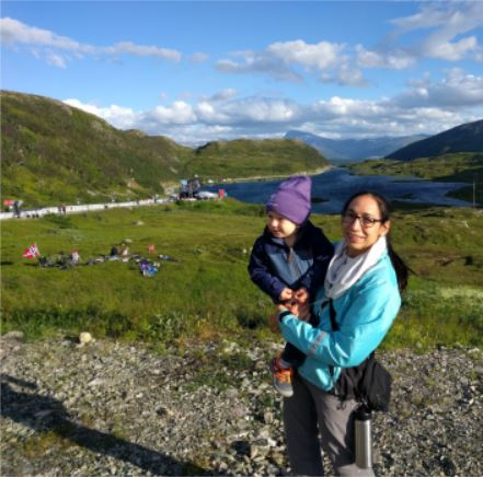 Peralta Ferriz in Norway with her son, who turned two during the fellowship.