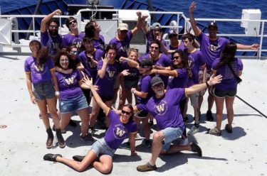 Spring at Sea 2018 students and faculty aboard the R/V Roger Revelle.