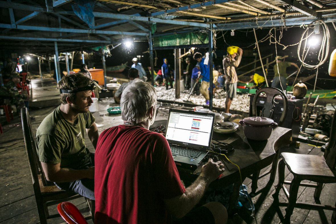 At night, people scoop fish from the dock as two researchers look at a laptop displaying data