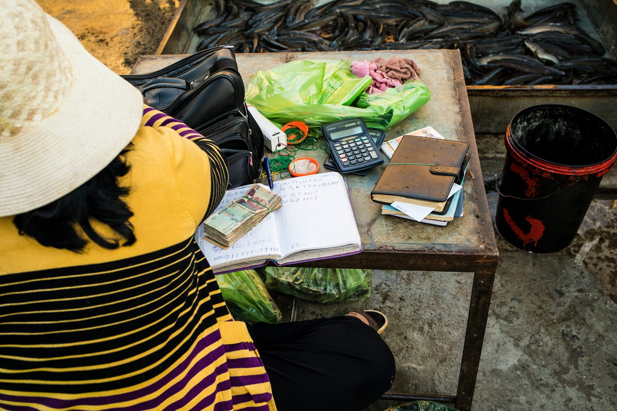 A woman at a busy fish market counts cash and writes sales in her notebook