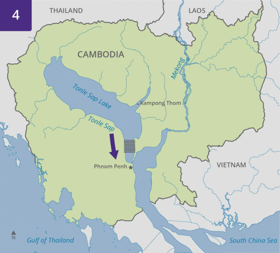 Map showing reversal of flow at Tonle Sap Lake