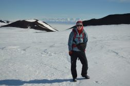 Laura Kehrl on a hike near McMurdo Station while waiting for a flight to the Allan Hills area.
