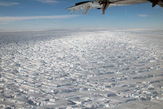 Reconnaissance flight over Thwaites Glacier, which is thought to act as a buttress on the West Antarctic Ice Sheet.