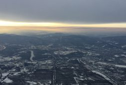 Particulate haze over eastern Pennsylvania in winter, as seen from the WINTER campaign aircraft.
