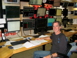 Harold Tobin aboard the research vessel Marcus G. Langseth, conducting a marine seismic reflection survey of the Cascadia Subduction Zone off Washington's coast.