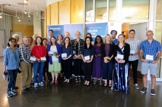 Dean Lisa J. Graumlich (center) with 2018 College of the Environment Award winners.