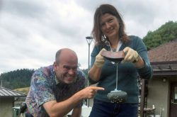 Scientists with clingfish prototype