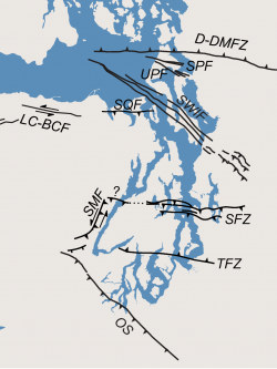 A graphic that shows the approximate location of the Seattle Fault Zone (SFZ), as well as the Tacoma Fault Zone (TFZ) further south. Shallow, crustal earthquakes here could wreak havoc on the City of Seattle depending on where they originate.